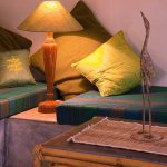 Carefully curated vintage furniture at villa Bharini